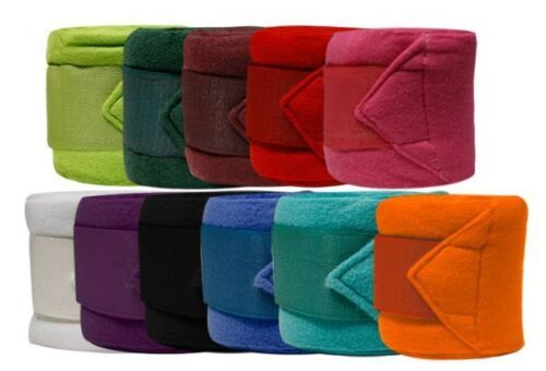 """FLEECE Horse Size POLO WRAPS 4"""" Wide x 120"""" Long with 2"""" Touch Closures SET of 4"""