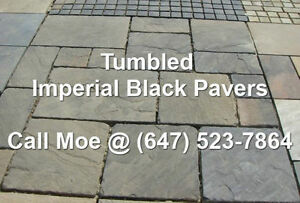 Tumbled Imperial Black Flagstone Pavers Square Cut Paving Stones