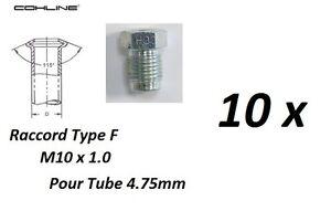 10x RACCORD FILETE TYPE F M10 x 1 CONDUITE DE FREIN 4.75mm pour Citroën - France - État : Neuf: Objet neuf et intact, n'ayant jamais servi, non ouvert, vendu dans son emballage d'origine (lorsqu'il y en a un). L'emballage doit tre le mme que celui de l'objet vendu en magasin, sauf si l'objet a été emballé par le fabricant d - France