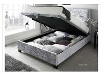 Rimini Crushed Velvet Ottoman Bed (single, double or king)