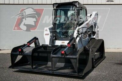 Solid Bottom Dual Cylinder Heavy Duty Grapple Bucket For Bobcat 76 Wide