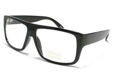SQUARE Vintage Black Mob Superman Nerd Glasses Clear Lens Sunglasses (Clear Polarized Glasses)