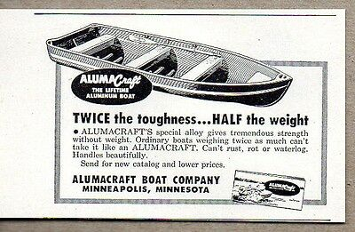 1950 Print Ad Aluma Craft Aluminum Boats Half the Weight Minneapolis,MN