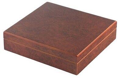 """NEW """"THE CHATEAU"""" 20 COUNT CIGAR DESKTOP HUMIDOR BOX - BURL"""