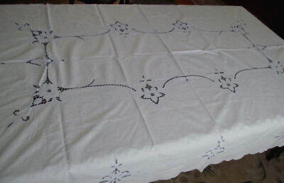 Fine Vintage Cutwork Embroidered Tablecloth~Blue Thread on White Linen 64x96