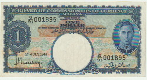 Malaya-British,1 Dollar Banknote,1.7.1941,Nice About Uncirculated Cond,P#11,King