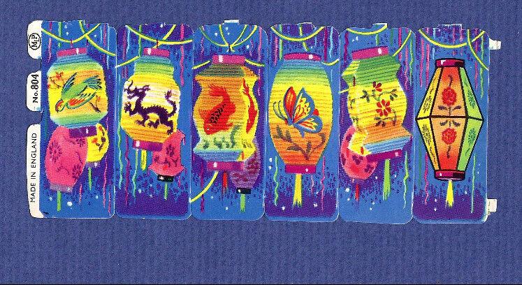 Lot of 5 old vtg SCRAPs CHINESE Lanterns BALLOON China New Year set MLP #804