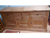 Large Solid Rustic Light Oak 3 Door, 4 Drawer Sideboard