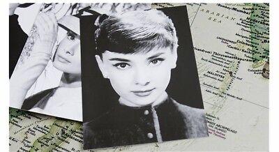 Postcards x 6, Film star Audrey Hepburn, quality paper, NEW