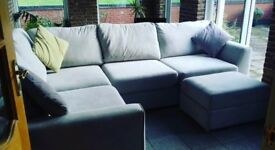 Large 6 Seater DFS Blanche Corner Sofa and Large Footstool Silver / Grey