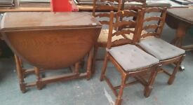 TABLE AND 4 WOOD CHAIRS SHABBY CHIC PROJECT ** FREE DELIVERY IS AVAILABLE TONIGHT ***