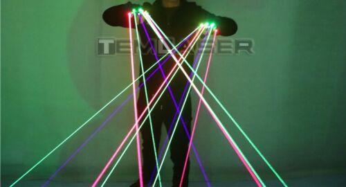 7pcs LED Light Laser Pair of Gloves W/ Colors Red - Purple/Violet - Green