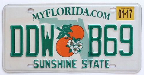 Florida Orange Blossom License Plate in Good Condition (RANDOM PLATE NUMBER)