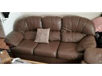Brown leather sofas 2x 3 seaters and a chair