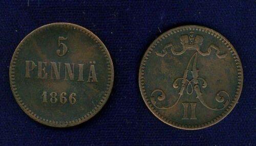 FINLAND (RUSSIA)  ALEXANDER II   1866   5 PENNIA   VF+