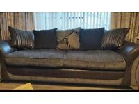 Sofa- 4 seater, huge cuddle chair & pouffe