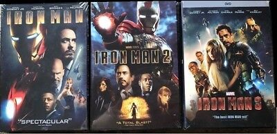 IRON MAN - 3 Movies Bundle Marvel DVD (Iron Man, Iron Man 2, Iron Man 3) (Iron Man 1 2 3 Box Set)