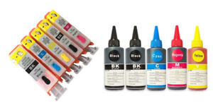 Refillable ink cartridge and bulk ink for Canon inkjet printer