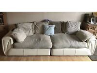 Scs large well loved comfortable cream fabric/leather sofa