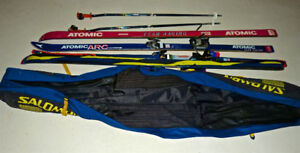 Assorted ski equipment for a taller, better skier
