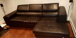 Black Leather Structube Sectional Sofa