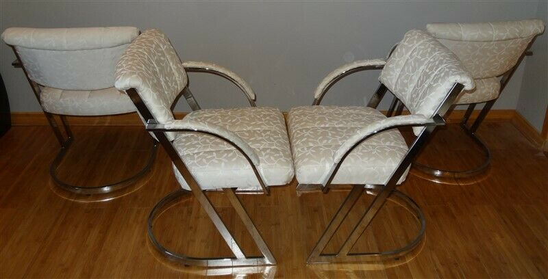 4 Milo Baughman Thayer Coggin 1970s Cantilever Chrome Dining Chairs