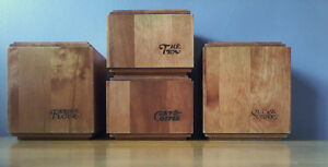 VINTAGE FOUR  PIECE MAPLE WOOD CANISTERS