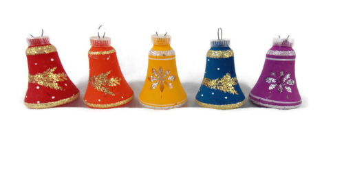 Vintage Lot Of 5 Austria Glass Bell Christmas Ornaments Rainbow Primary Colors
