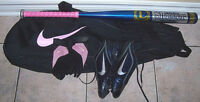 Ladies Louisville Softball Bat with Nike Gloves,Cleats,Equip.Bag