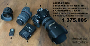NIKON D-5200 with 3 lenses and more