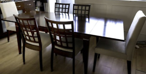 Palliser Espresso Colour Wood Dining Table, Extension, 6 chairs