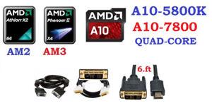 CPU Dual Core AM2, AM3, FM2, FM2+, DVI to HDMI, DVI or VGA cable