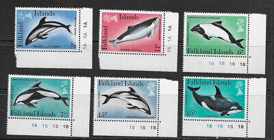 FALKLAND ISLANDS , 1980 , DOLPHINS , KILLER WHALES , SET OF 6 STAMPS , -