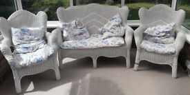 CONSERVATORY SEATING RATTAN WHICKER STYLE TWO SEATER AND 2 SINGLE CHAIRS WITH CUSHIONS.