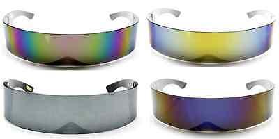 Futuristic Robocop Cyclops Outter Space Robot RAVE Shield Sunglasses (Mirrored Shield Sunglasses)