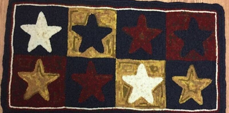 "Wool Hand Hooked Rug - ""American Stars"" (18 3/4"" x 34 1/2"" L)"