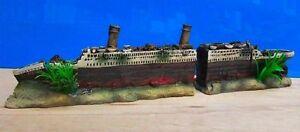 Titanic Boat Ship Wreck 2 Part Ornament Aquarium Fish Tank New