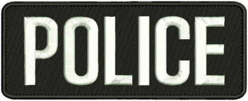"POLICE embroidery patches 8X3""  hook on back  white letters"