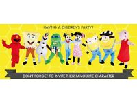 Mascot character entertainment for children's birthday parties events glitter tattoos