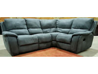 Recliner Corner Sofa Suede - Grey. Can deliver