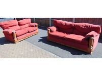 rustic pine farmhouse style five seater suite two and two seater sofa