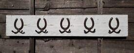 New white wash coat rack with 5 double cast iron horseshoe shape hooks. Handmade
