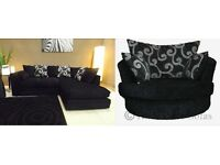 chenille fabric corner sofa as in pic left or right chaise cuddle chair available NEXT DAY DELIVERY