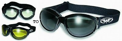 Padded Motorcycle Riding Goggles-Day Night TRANSITION PHOTOCHROMIC LENS *Choice* ()