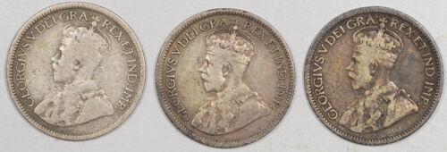 1916 1917 1918 10c CANADA SILVER LOT OF 3 - HIGH GRADE CIRCULATED EXAMPLE!
