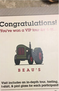 ViP tour for 4 Beau's brewery ottawa