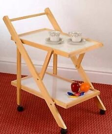 Hostess Trolley or Tea Trolley on Castors, Folding Two-Tier Pine & White Coloured - As New in box