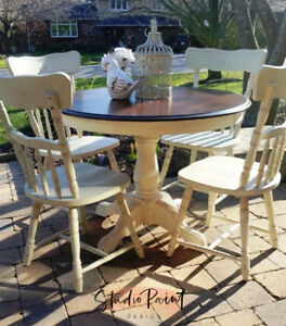 Painted and Refinished Farmhouse Table and Chairs