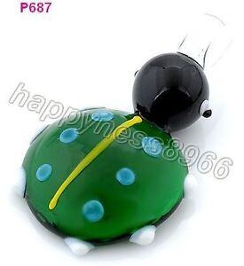 ladybug lampwork Murano art glass beaded pendant necklace