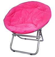 COMFY CORDUROY MOON/SAUCER CHAIR NEON CANDY PINK